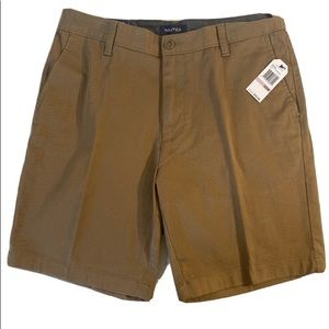 Nautica Flat Front Shorts Oyster Brown Men's 32